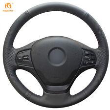 Black Genuine Leather Steering Wheel Cover Wrap for BMW F30 316i 320i 328i