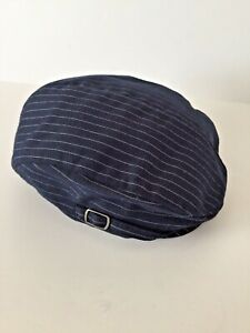 JANIE & JACK 6-12M Dress Newsboy Navy Blue Pin Stripe Cap Hat SUIT Holiday