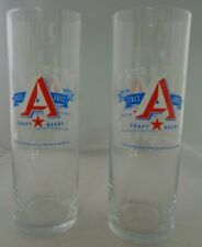 Austin Beer Works Pair Glasses Craft Brewery Rare Tall Skinny 3rd Anniversary