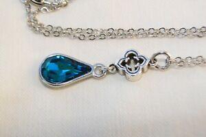 ALTERED Brighton Toledo Alto Silver Charm Dangle Green Crystal Pendent Necklace