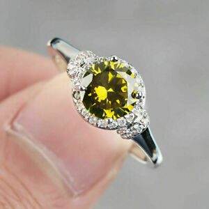 Fashion 925 Silver Rings for Women Green Sapphire Wedding Jewelry Gift Size 7