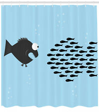 Fish Shower Curtain Funny Cartoon Parody Print for Bathroom 70 Inches Long