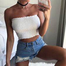 Sexy Women Off Shoulder Crop Tops Bra Elastic Strapless Bandeau Tube Tops Shirt