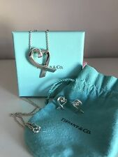 Tiffany Loving Heart Pendant And Earring Set In Sterling Silver +++ L@@K +++