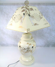 GEISHA TABLE LAMP & LAMPSHADE Mother Of Pearl Japanese Porcelain White Lacquer!