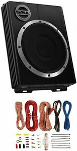 "SOUNDSTORM LOPRO10 10"" 800W Car Under Seat Powered Subwoofer Sub+8Ga Amp Kit"