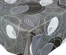 PVC Vinyl Plastic Table Cloth Plain Charcoal Black Grey White Swirls Linen Look