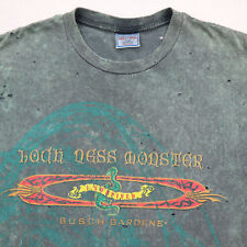 Vtg Distressed Loch Ness Monster T-Shirt LARGE 90s Busch Gardens Faded Grunge