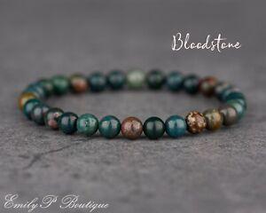 Natural Bloodstone Semi Precious Gemstone 6mm Beaded Stretch Chakra Bracelet