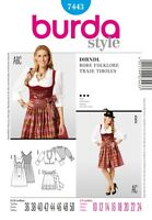 burda Schnittmuster / pattern  7443  Dirndl / Robe Folklore, EU 36-50 / US 10-24