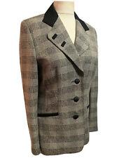 EQUIMODA Spanish Vtg 90s Plaid Check Blazer Tailored Jacket Smart Chic UK 12