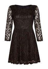Mela Loves London Black Gold Lined Lace 3/4 Sleeve Stretch Pleat Skirt Dress 10