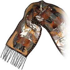Laurel Burch 100% Silk Oblong Scarf With Fringe Bronze Brown Moroccan Horses New