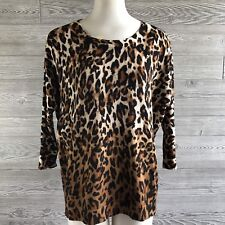 Chicos Womens Sweater Size 0 S Leopard Long Drop Dolman Sleeve Loose Fitting