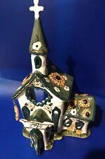 "Clayworks by Blue Sky Church Joy by Heather Goldminc 2004 Ceramic 10"" Tea Light"