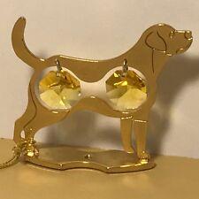CRYSTAL DELIGHT MASCOT AUSTRIA 24K GOLD PLATED ANIMAL DOG FIGURINE ROTTWEILER