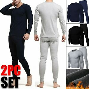 Mens Winter Fleece Lined 100% Cotton Thermal Long Johns Top Bottom Underwear Set