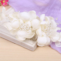 Vogue Bridal Wedding Hair Clip Comb White Cloth Flower Rhinestone Crystal Pearls