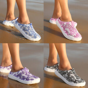 UK Women Summer Slip-on Beach Sandals Breathable Slippers Hollow-out Flats Shoes