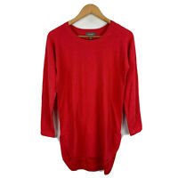 Sussan Womens Tunic Dress Top Size XS Extra Small Red Long Sleeve Round Neck