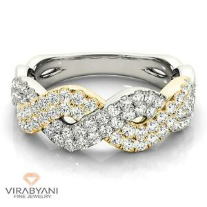 0.63 ct G-VS1 Diamond Criss Cross Band Two Tone 14k White and Yellow Gold Ring