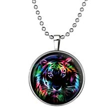 "Tiger Charm Pendant Fashionable Glass Necklace - Glow in the Dark - 23"" Chain"