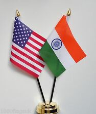 United States of America & India Double Friendship Table Flag Set