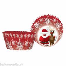 50 Christmas Party RED Cute Santa Reindeer Paper Cupcake Cake Cases