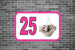 House Door Number Sign Hanging Basket Design Metal Door Sign