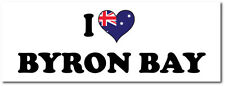 I LOVE BYRON BAY WITH HEART FILLED AUSTRALIAN FLAG VINYL STICKER - 25cm x 7cm