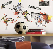 MEN'S SOCCER CHAMPION PLAYER wall stickers sports decor 53 decals teen ball net
