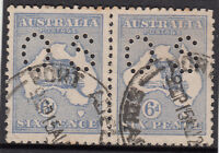 Stamps Australia 6d blue Kangaroo die 2 perf OS pair used, uncommon multiple