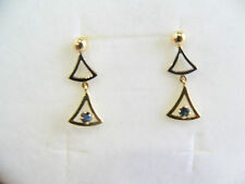 Orecchini donna Oro giallo e bianco 18 kt, zaffiro blu idea regalo Earrings Gold