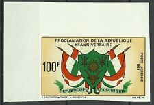 NIGER ARMOIRIES DRAPEAUX COAT OF ARMS FLAGS NON DENTELE IMPERF ESSAY ** 1968