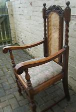 Antique Jacobean Throne Arm Chair ~ Carved Gothic  Vintage William Morris Fabric