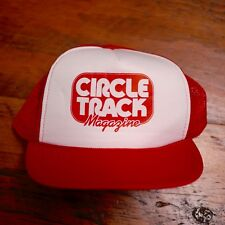 Vintage CIRCLE TRACK MAGAZINE Hot Rod Car Culture Red Mesh Trucker Cap Hat