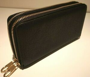 Ladies Double Zip Plain Black Purse Long Wallet Coin Note Bill Checkbook mobile