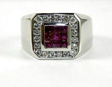 Princess Cut Ruby & Diamond Men's Cluster Ring 14k White Gold 1.57Ct
