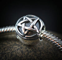 Genuine SOLID 925 Sterling Silver charm bead Goth pentagram star  fits bracelet