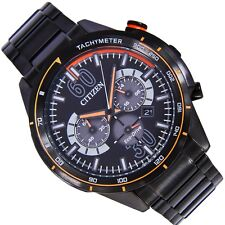 Citizen Eco Drive Chronograph Mens Watch 100M CA4125-56E Black metal UK Seller