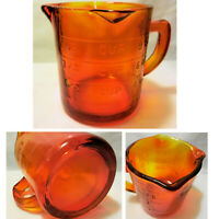 New Amberina Red Orange Glass 1 Cup Embossed Measuring Cup 3 Spouts