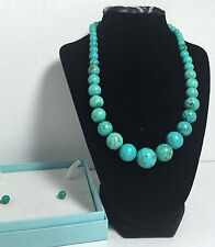 Brand new Ladies Turquoise Gemstone necklace and earring set Gift for her