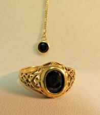 """Gold and Onyx Petite Figaro Necklace16"""" Ring 6.5 SET 10k SALE-SAVE #699"""
