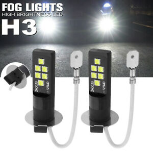 2x H3 LED Bulb 3030 SMD 6000K White Car Fog Light High Bright DRL Driving Lamp