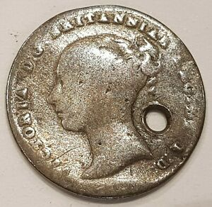 1844 Young Head Victoria Three Pence Silver Coin