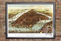 Vintage New York City, NY Map 1870 - Historic New York Art Victorian Industrial