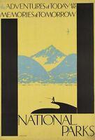"Vintage Illustrated Travel Poster CANVAS PRINT National parks adventures 24""X18"""