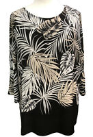 Plus size Palm Print Tunic Top 3/4 sleeves Border Print New Curves size 16 to 32