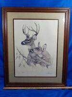Gerald Allison Bridges Listen Signed Numbered Litho Art Print Deer Woods 70s