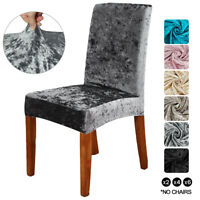 4Pcs Crushed Velvet Dinning Chair Covers High Back Chair Protector Home Decor US